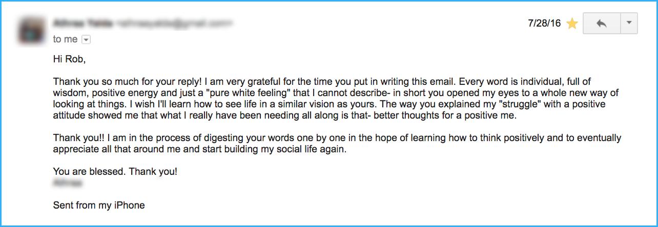 Testimonial Response email